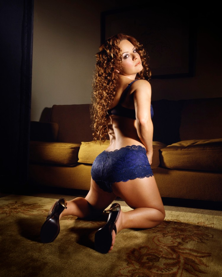 Actress Jenna von Oy in Blue Bra and Panties